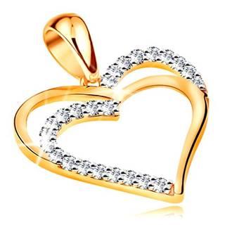 Prívesok zo žltého 14K zlata - dvojitý obrys srdca, línie čírych zirkónov