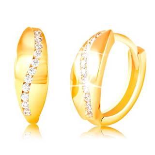 Zlaté 14K náušnice - ligotavý zvlnený pás z čírych zirkónov