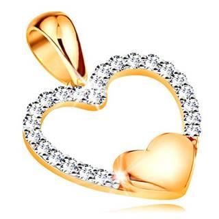 Zlatý 14K prívesok - obrys srdca zo zirkónov, malé plné srdiečko v spodnej časti