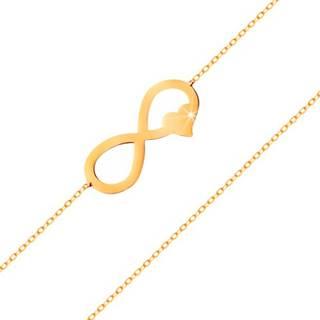 Zlatý náramok 585 - tenká retiazka, plochý symbol nekonečna so srdiečkom