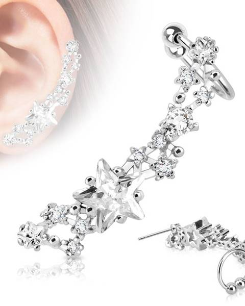Fake oceľový piercing do ucha striebornej farby, ródiovaný - trblietavé číre hviezdičky - Tvar: Ľavý