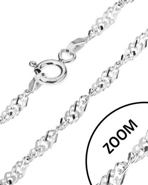 Špirálovito zatočená strieborná retiazka 925, ploché očká, šírka 2,4 mm, dĺžka 500 mm