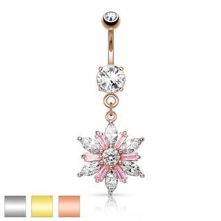 Piercing do pupku z chirurgickej ocele - trblietavý kvet, číre a ružové zirkóny, rôzne farby - Farba piercing: Medená