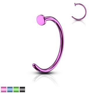 Piercing farebná podkova - anodizovaný titán, lesklý povrch, 0,6 mm - Priemer: 10 mm, Farba piercing: Fialová