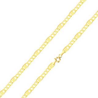 Retiazka zo žltého 14K zlata - podlhovasté očko s obdĺžnikom, tri oválne očká, 500 mm