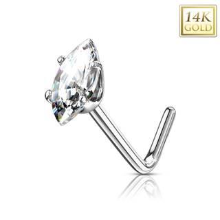 Zlatý 14K zahnutý piercing do nosa - číre zirkónové zrnko, biele zlato