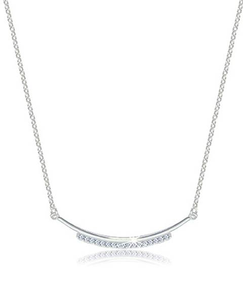 Strieborný 925 lesklý náhrdelník - zaoblená kontúra zdobená zirkónovou líniou