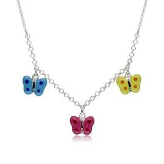 Náhrdelník zo striebra 925 pre deti - bodkované motýliky s modrou, ružovou a žltou glazúrou