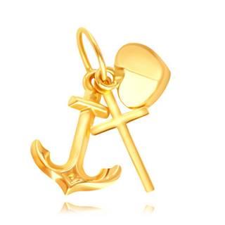 Prívesok zo žltého zlata 375 - motív srdiečka, kotvy a krížiku