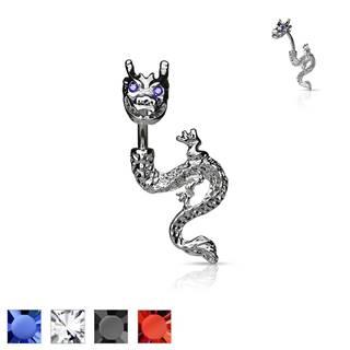 Piercing do pupku - ohnivý drak so zirkónovými očami - Farba piercing: Červená