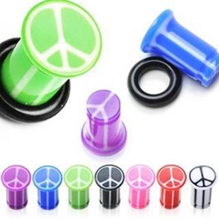 Plug do ucha UV so znakom mieru, mramorový, s gumičkou - Hrúbka: 10 mm, Farba piercing: Modrá