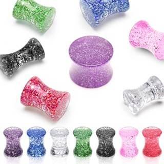 Plug do ucha UV trblietkový, sedlový, mramorový - Hrúbka: 10 mm, Farba piercing: Ružová