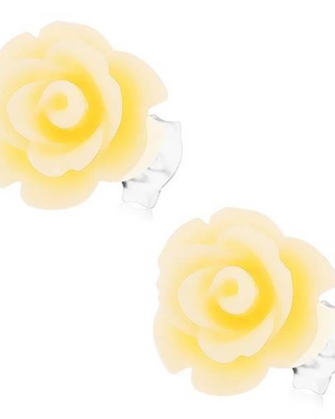 Strieborné 925 náušnice, ruža vo svetložltej farbe, zapínanie na puzetky