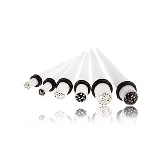 Akrylový expander do ucha - biely, zirkóny zaliate glazúrou - Hrúbka: 4 mm, Farba zirkónu: Číra - C