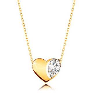 Náhrdelník v žltom 9K zlate - jemná retiazka, lesklé srdce s čírymi zirkónmi