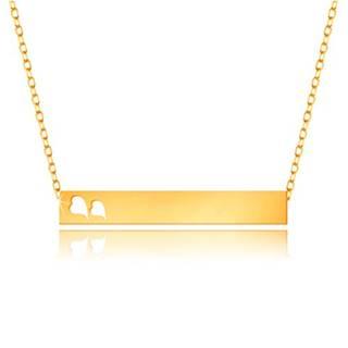 Náhrdelník zo žltého 9K zlata - lesklý obdĺžnik, srdiečka, jemná retiazka