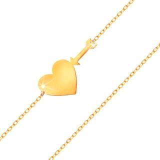 Náramok v žltom zlate 585 - tenká ligotavá retiazka, lesklé ploché srdce a šíp