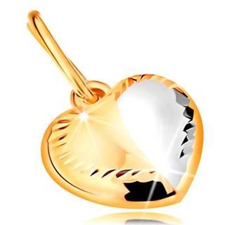 Prívesok v 14K zlate - dvojfarebné srdiečko s ryhou v strede a zárezmi po obvode