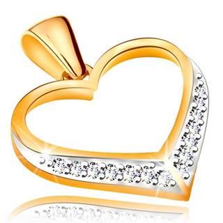 Prívesok v 14K zlate - obrys súmerného srdca, zirkóny v spodnej časti