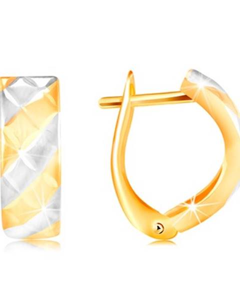Náušnice v 14K zlate - matné pásy v žltom a bielom zlate, ligotavé zárezy