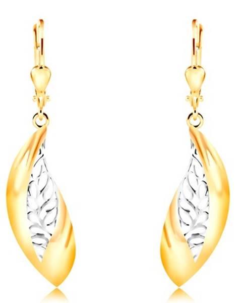 Náušnice zo 14K zlata - veľký zahnutý list, pás z bieleho zlata a výrezov