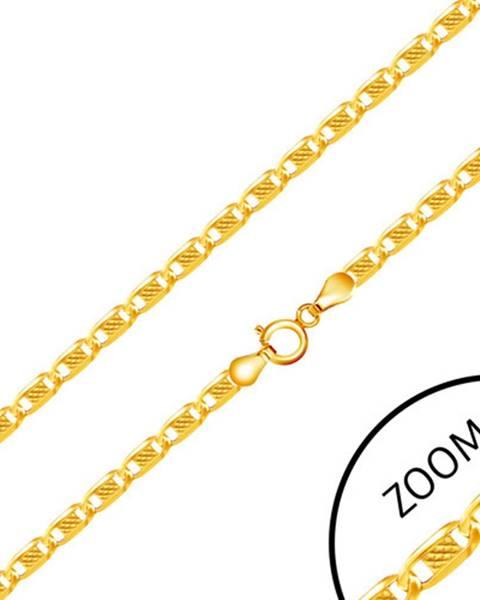 Retiazka v zlate 585 - oválne články zdobené obdĺžnikom s mriežkovaným vzorom, 550 mm