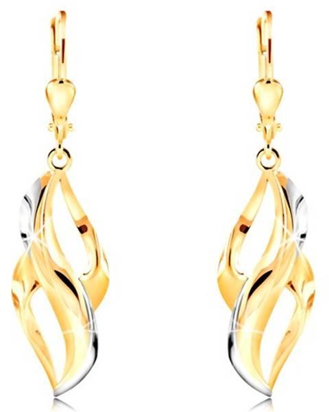 Zlaté náušnice 585 - zvlnený list s pásmi z bieleho zlata a dvomi výrezmi