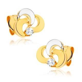 Náušnice zo 14K zlata - trojlístok s čírym diamantom, dvojfarebné prevedenie