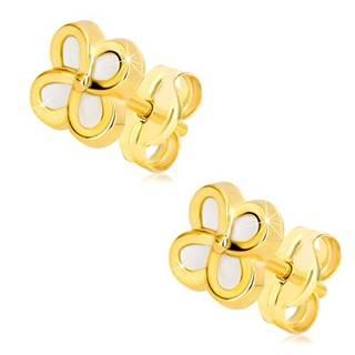 Náušnice zo 14K žltého zlata - kvietok so štyrmi lupeňmi a perleťou, puzetky