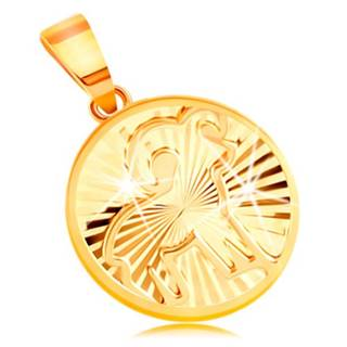 Zlatý 14K prívesok - lúčovito usporiadané zárezy, znamenie BARAN