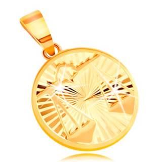 Zlatý 14K prívesok - lúčovito usporiadané zárezy, znamenie VÁHY