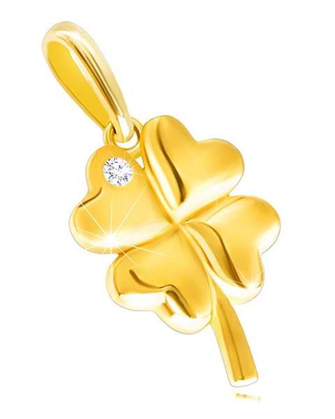 Prívesok zo žltého 14K zlata - lesklý štvorlístok s okrúhlym ligotavým zirkónikom
