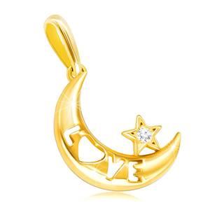 """Prívesok zo žltého zlata 585 - mesiac s nápisom """"LOVE"""" a čírou zirkónovou hviezdičkou"""