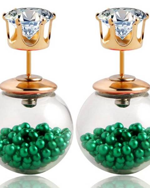 Náušnice Double Bead - Presýpacie - Zelená