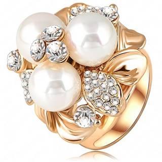Prsteň Three Pearl - Zlatá / 51mm
