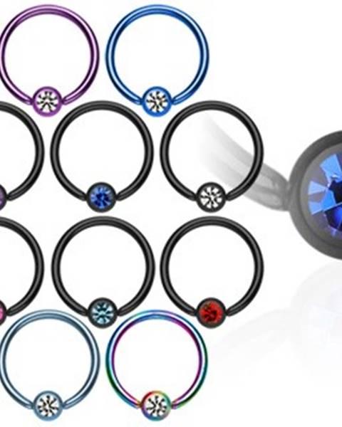 Piercing krúžok s guličkou z anodizovaného titánu so zirkónom - Hrúbka piercingu: 1,2 mm, Farba zirkónu: Svetlomodrá - číra