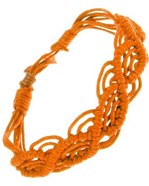 Oranžový náramok zo šnúrok, vlnkový vzor