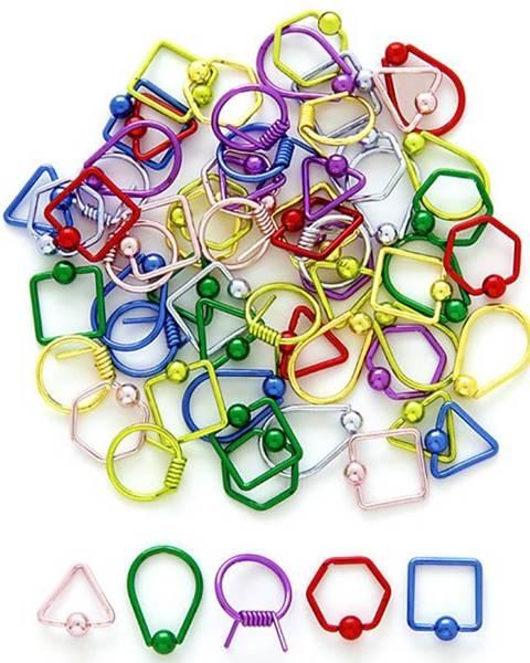 Piercing s guličkou - geometrické tvary - Farba piercing: Červená, Tvar: šesťuholník