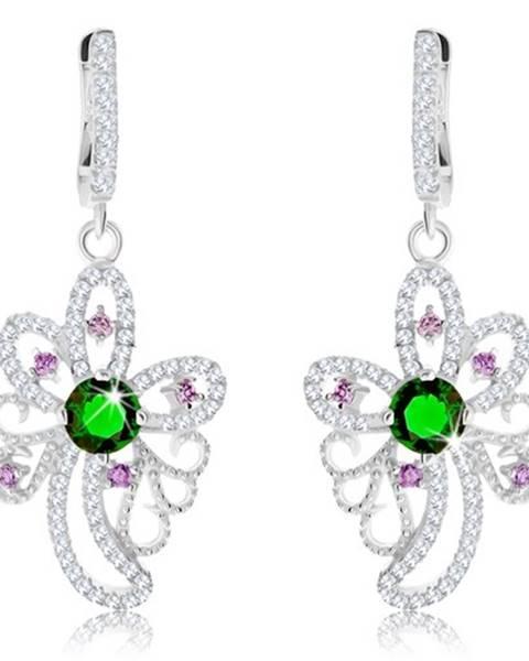 Strieborné náušnice 925, trblietavý obrys kvetu, zelené a fialové zirkóny