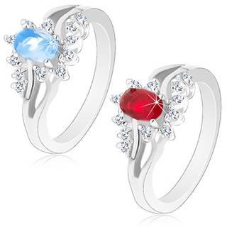Lesklý prsteň v striebornom odtieni s rozdvojenými ramenami, brúsené zirkóny - Veľkosť: 52 mm, Farba: Červená