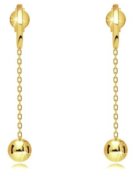 Náušnice zo žltého 9K zlata - úzky pásik, lesklá gulička na retiazke