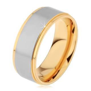 Dvojfarebný prsteň z chirurgickej ocele, vyvýšený matný pás striebornej farby - Veľkosť: 49 mm