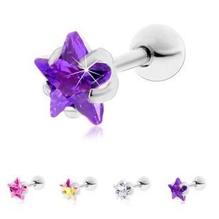 Oceľový piercing do tragusu ucha, ligotavá zirkónová hviezdička - Hlavička: 3 mm, Farba zirkónu: Ružová - P