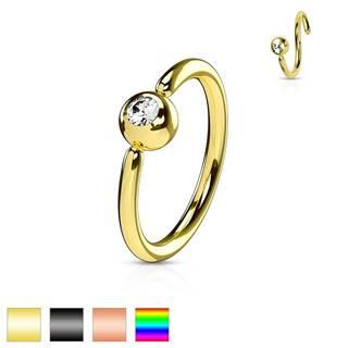 Piercing z chirurgickej ocele, lesklý krúžok, gulička s čírym zirkónom - Hrúbka piercingu: 0,8 mm, Farba piercing: Medená