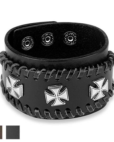 Vybíjaný kožený náramok - Maltézsky kríž striebornej farby  - Farba: Čierna