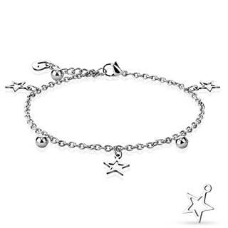 Náramok z ocele v striebornej farbe - kontúry hviezd, lesklé guličky a obrys srdiečka