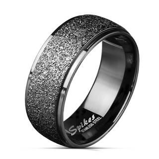 Oceľová obrúčka v čiernej farbe - široký pás zdobený trblietkami, 8 mm - Veľkosť: 65 mm