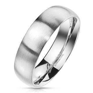 Prsteň z ocele v striebornom farebnom odtieni - matný povrch, 6 mm - Veľkosť: 49 mm
